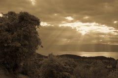 Giorno di autunno sul lago Ocrida macedonia Fotografia Stock Libera da Diritti