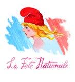 Giorno di Bastille Festa Nationale della La ` Francese di festa nazionale del ` del testo Progettazione del manifesto e della car royalty illustrazione gratis