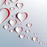 Giorno di biglietti di S. Valentino. Cuori di carta astratti. Amore Immagine Stock