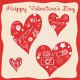 Giorno di biglietti di S. Valentino - cuori - raccolta di scarabocchi Fotografia Stock