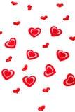 Giorno di biglietti di S. Valentino. Cuori rossi. Immagini Stock