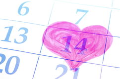Giorno di biglietti di S. Valentino. Data del calendario. Fotografie Stock