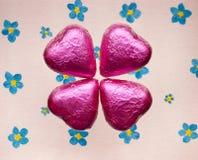 Giorno di biglietti di S. Valentino dei cuori del cioccolato. Immagine Stock Libera da Diritti