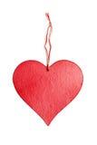 Giorno di biglietti di S. Valentino di legno del segno del cuore con il nodo della corda Immagini Stock Libere da Diritti