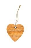 Giorno di biglietti di S. Valentino di legno del segno del cuore con il nodo della corda isolato Fotografie Stock