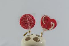 Giorno di biglietti di S. Valentino dolce dello zucchero di Candy Immagine Stock