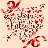 Giorno di biglietti di S. Valentino felice Fotografie Stock Libere da Diritti