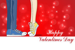 Giorno di biglietti di S. Valentino felice, amore, bacio, illustrazione di vettore della carta illustrazione di stock