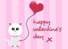 Giorno di biglietti di S. Valentino felice Cat Greeting Fotografia Stock Libera da Diritti