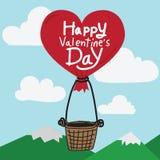 Giorno di biglietti di S. Valentino felice con l'aerostato del cuore Fotografia Stock Libera da Diritti