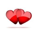 Giorno di biglietti di S. Valentino felice dei cuori del fondo due Immagine Stock Libera da Diritti