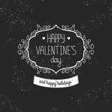 Giorno di biglietti di S. Valentino felice della carta d'annata di amore Immagine Stock Libera da Diritti