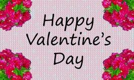 Giorno di biglietti di S. Valentino felice sui precedenti con le peonie Fotografia Stock Libera da Diritti