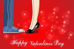 Giorno di biglietti di S. Valentino felice, una dichiarazione di amore, bacio, vettore della carta di giorno di biglietti di S. V illustrazione di stock