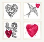 Giorno di biglietti di S. Valentino fissato per le cartoline d'auguri di festa illustrazione di stock