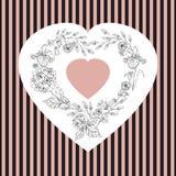 Giorno di biglietti di S. Valentino, illustrazione di nozze con cuore dai fiori Fotografia Stock