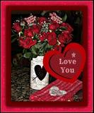 Giorno di biglietti di S. Valentino Rose Bouquet Immagini Stock Libere da Diritti