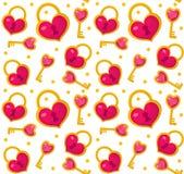 Giorno di biglietti di S. Valentino senza cuciture sveglio del modello con la serratura del cuore, chiave Amore, senza fine roman illustrazione vettoriale