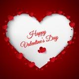 Giorno di biglietti di S. Valentino su fondo rosso Immagini Stock