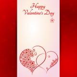 Giorno di biglietti di S. Valentino - un cuore di due rossi su fondo rosso - illust Fotografia Stock