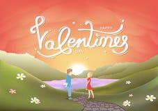 Giorno di biglietti di S. Valentino, caratteri degli amanti, cartolina d'auguri di calligrafia, scena del paesaggio, tramonto nel royalty illustrazione gratis