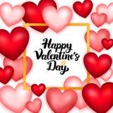 Giorno di biglietti di S. Valentino felice molti cuori Fotografia Stock