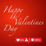 Giorno di biglietti di S. Valentino felice sul concetto rosso della rete sociale del fondo illustrazione di stock