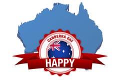 Giorno di Canberra in Australia celebrazione felice di vettore Bandiera e mappa dell'Australia illustrazione di stock