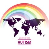 Giorno di consapevolezza di autismo del mondo Giorno di orgoglio del mondo di vettore Emblema fatto dai pezzi di puzzle e dai col Fotografia Stock