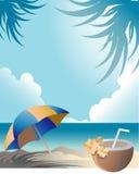 Giorno di distensione alla spiaggia con la bevanda della noce di cocco Immagini Stock