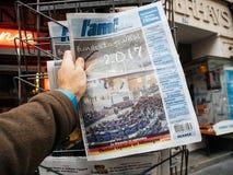 Giorno di elezioni di hebdo degli ami per il cancelliere della Germania Angela m. Fotografia Stock Libera da Diritti