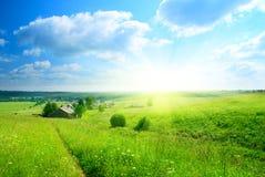 Giorno di estate perfetto in villaggio Fotografia Stock
