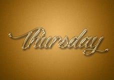 Giorno di giovedì dei precedenti di titolo dell'oro di settimana immagine stock