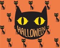 Giorno di Halloween del gatto nero Immagini Stock Libere da Diritti