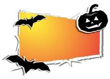 Giorno di Halloween fantasma nero della zucca e del pipistrello Immagini Stock Libere da Diritti
