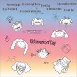 Giorno di Inventors' del bambino Piccoli scienziati Struttura decorativa di vettore Fotografie Stock