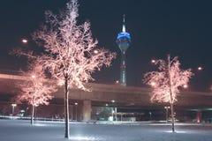 Giorno di inverni a Dusseldorf Immagine Stock