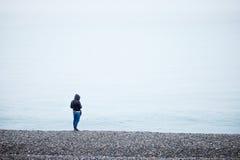 Giorno di inverno alla spiaggia Fotografie Stock Libere da Diritti
