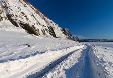 Giorno di inverno gelido sul fiume l'Amur Fotografia Stock