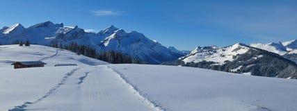 Giorno di inverno nel Bernese Oberland Montagne innevate terra Fotografia Stock Libera da Diritti