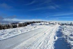 Giorno di inverno piacevole in Fischbacher Alpen in Stiria con cielo blu Immagini Stock Libere da Diritti