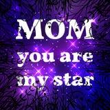 Giorno di madre felice Mamma siete la mia stella Fotografia Stock Libera da Diritti