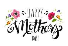 Giorno di madri dell'insegna con i fiori e l'iscrizione Fotografia Stock