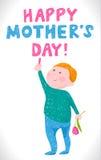 Giorno di madri della cartolina d'auguri nello stile dei disegni dei bambini Fotografie Stock Libere da Diritti