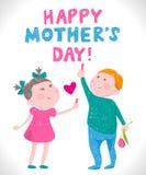 Giorno di madri della cartolina d'auguri nello stile dei disegni dei bambini Fotografia Stock