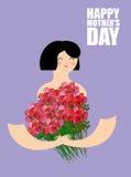 Giorno di madri Donna che tiene grande mazzo delle rose rosse cheerful illustrazione di stock
