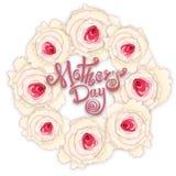 Giorno di madri felice Calligrafia fatta a mano e rose Immagine Stock