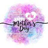 Giorno di madri felice Congratulazioni, progettazione femminile per il menu, aletta di filatoio, carta, invito L'iscrizione sull' Immagini Stock Libere da Diritti