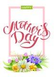 Giorno di madri felice Festa per la mamma Testo dell'iscrizione della cartolina d'auguri Immagine Stock Libera da Diritti