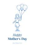 Giorno di madri felice Figlia con i palloni Piccola ragazza Illustrazione disegnata a mano Blue Line progetta Cardi il modello Fotografie Stock